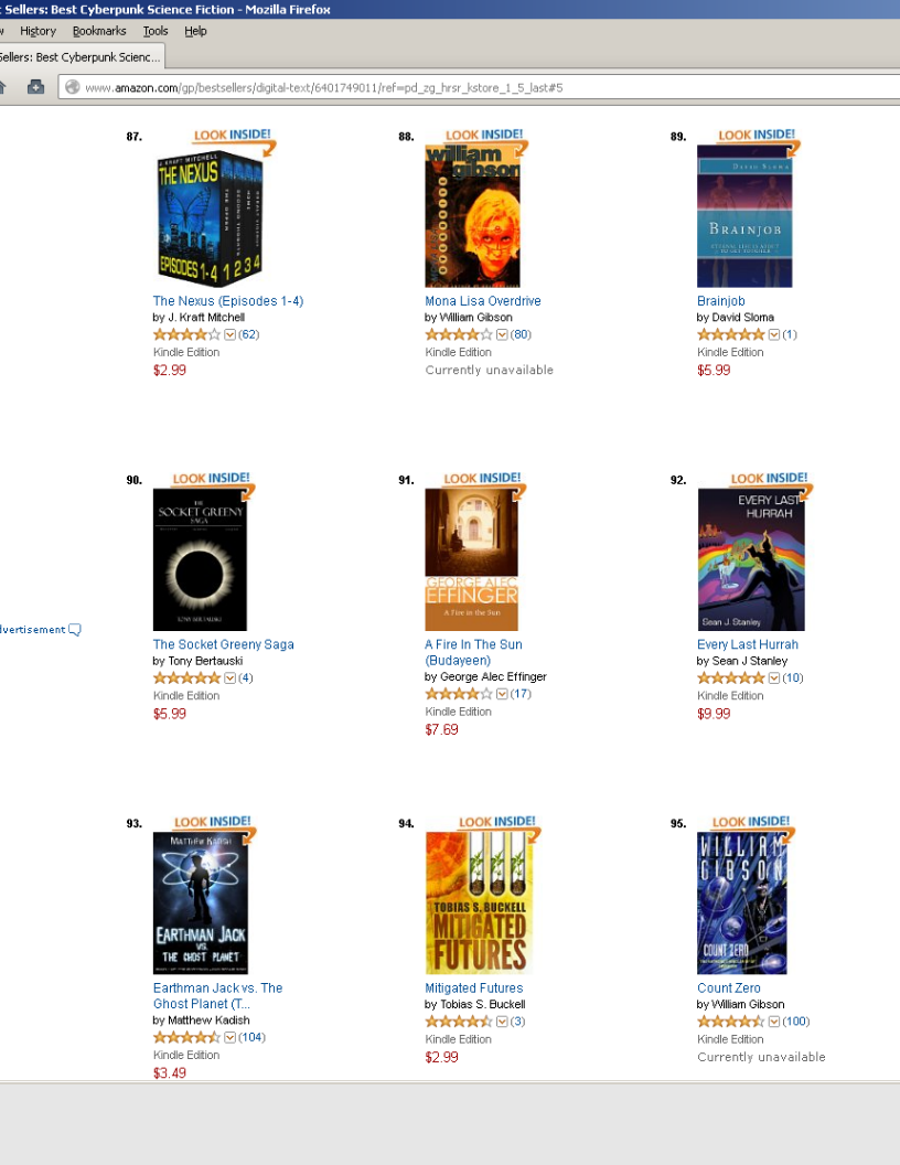 My novel Brainjob currently at 89 of the top 100 on Amazon.com for Best Sellers in Cyberpunk Science Fiction